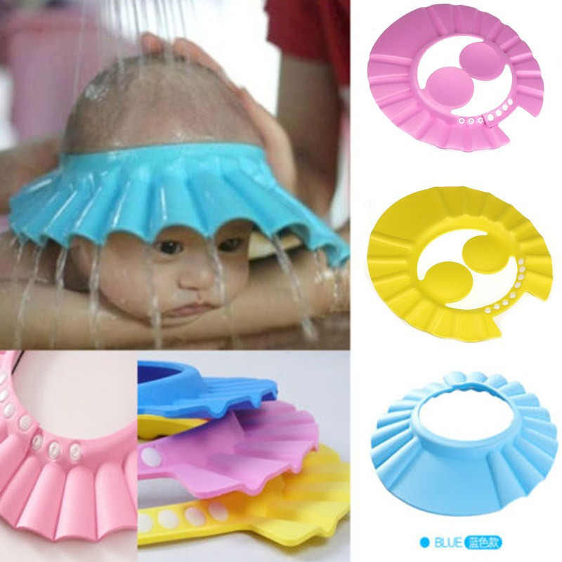1 X New Adjustable Baby Kids Shampoo Bath Bathing Shower Cap Hat With Protect Ear Wash Hair Shield 3 Colors(China (Mainland))