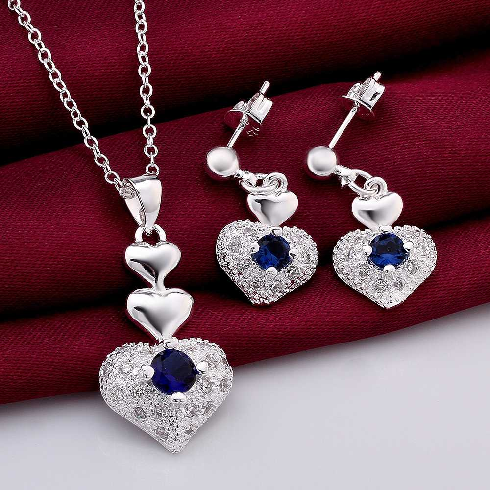 Lose Money!925 Silver Jewelry Sets,Fashion Sterling heart blue center N+E SMTS772 - Online Store 634514 store