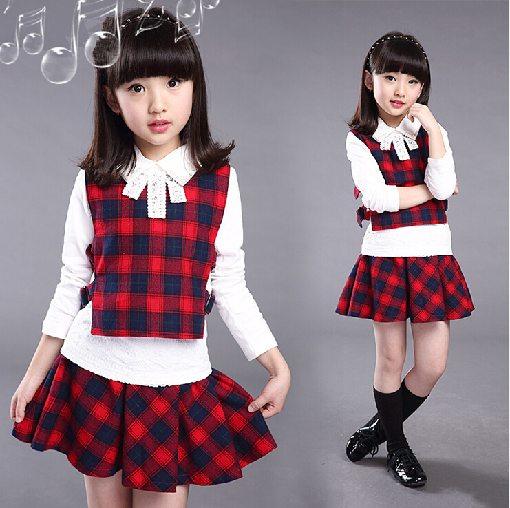 shirt vest and skirt 3 piece lovely 3-14 year old baby girl clothing set 2 color choice 3 pcs children girl clothing set BC3649(China (Mainland))