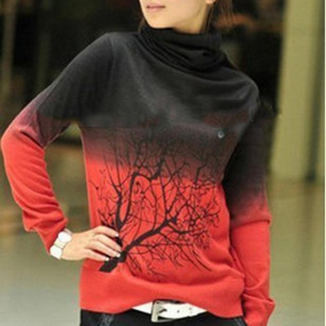 Осень стиль вязаный свитер водолазку дерево шаблон с длинным рукавом градиент цвета ...