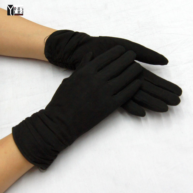 Free shipping 2016 winter and autumn lady fashion sheared sheep skin gloves women black genuine leather mittens Wrist Gloves(China (Mainland))