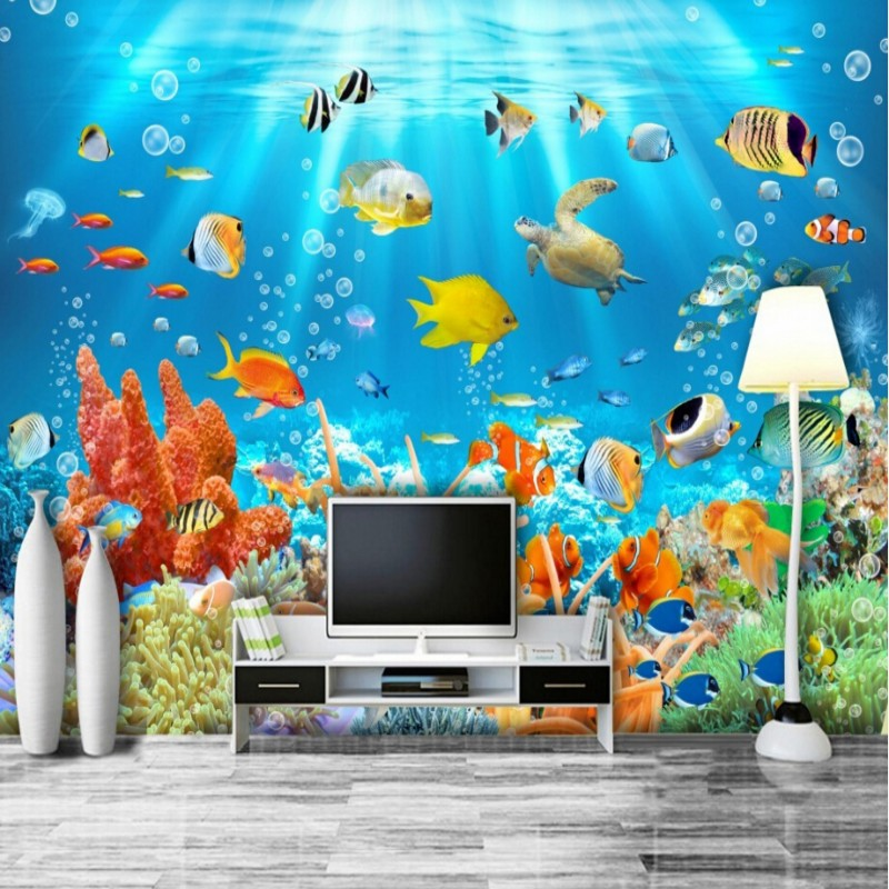 3D stereoscopic underwater world of tropical fish living room sofa background, bedroom, hallway, TV background wallpaper(China (Mainland))