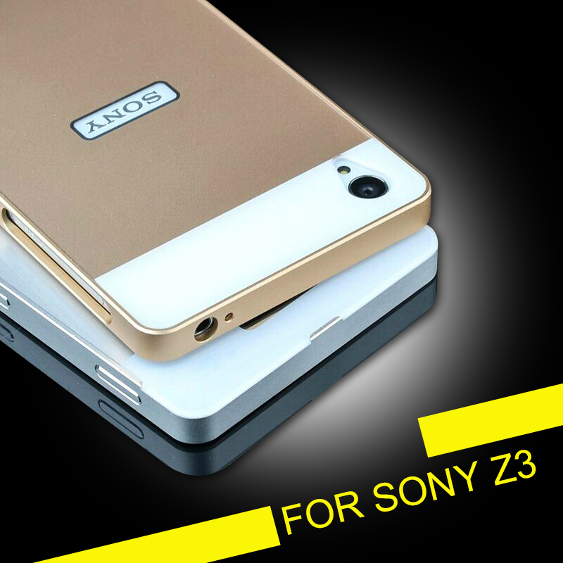 Newest Gold 1MM Ultrathin Slim Aluminum Frame + PC Hard Case For Sony Xperia Z3 D6603 D6643 D6653 Shock Proof Metal Cover Bag Z3(China (Mainland))