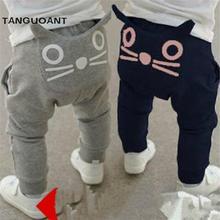 Retail 2016 nueva primavera y otoño ropa niños niñas pantalones de harén de algodón búho pantalones pantalones bebé(China (Mainland))