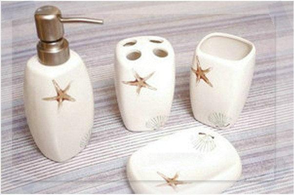 4pcs porcelain 4pcs decorative bathroom accessory b2233 for Fancy bathroom accessories sets
