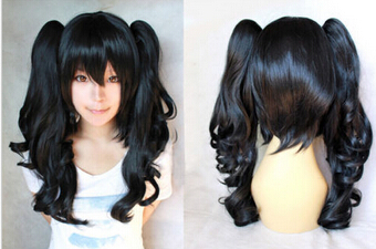 003589 Lolita Short Straight Full Wigs Hair Cosplay Party Ponytail Wig Black