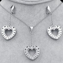Ensembles de bijoux romantiques bijoux ensoleillés pour femmes collier boucles d'oreilles pendentif coeur creux ensembles de bijoux pour la fête de fiançailles de mariage(China)