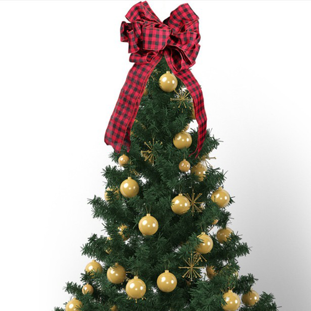 Christmas Bow Bowknots Plaid Holiday Party Burlap Christmas Tree Ornament Bow Red