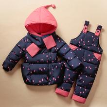 2015 Winter Children s Clothing Set Kids Ski Suit Overalls Baby Girls Down font b Coat