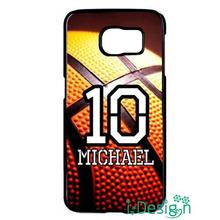 Fit for Samsung Galaxy mini S3/4/5/6/7 edge plus+ Note2/3/4/5 skins cellphone case cover Personalized Number Name Basketball