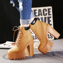 Fashion Autumn And Winter Platform Ankle Boots Women Lace Up Thick Heel Martin Boots Ladies Worker Boots Black Size 35-39(China (Mainland))