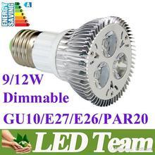 CREE Diammable Par20 Led Lamp 9W 12W E27/GU10/E26 AC85-256V Led Spot Light Spotlight led bulb Par20 LED Light Lighting 60 Angle(China (Mainland))