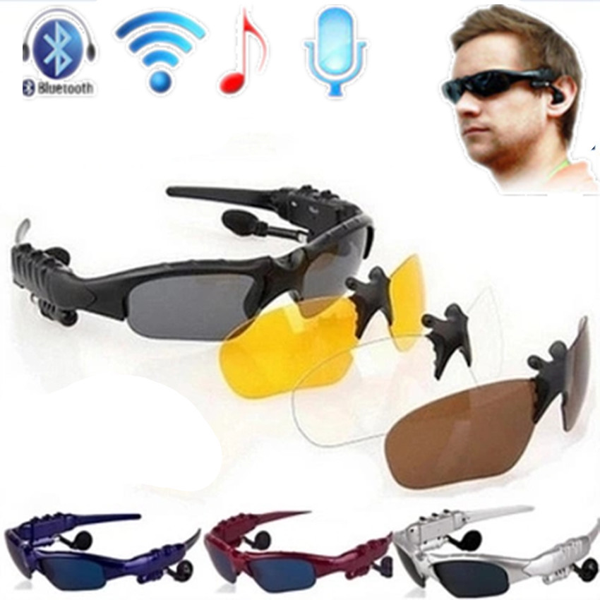 3 sets of glasses lens bluetooth wireless connectivity Bluetooth 4.0 Headset Phone Driving Sunglasses mp3/Eye Glasses earphones(China (Mainland))