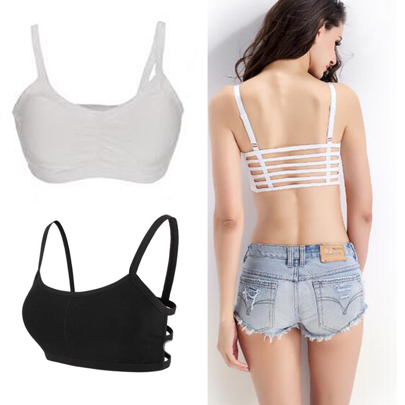 1pc Hot 2016 Fashion New Sexy Women Cotton Hollow Back Midriff Shirt Tank Top Padded Bra Wrap Vest Chest Sport Bra Crop Tops(China (Mainland))