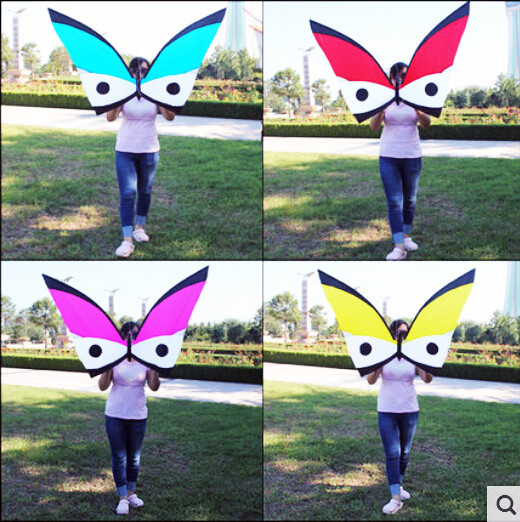 Free Shipping 2015 NEW Sports Dancing Butterfly Kites Carbon Rod Nylon Fabric With Handle And Line Good Flying In Breeze(China (Mainland))