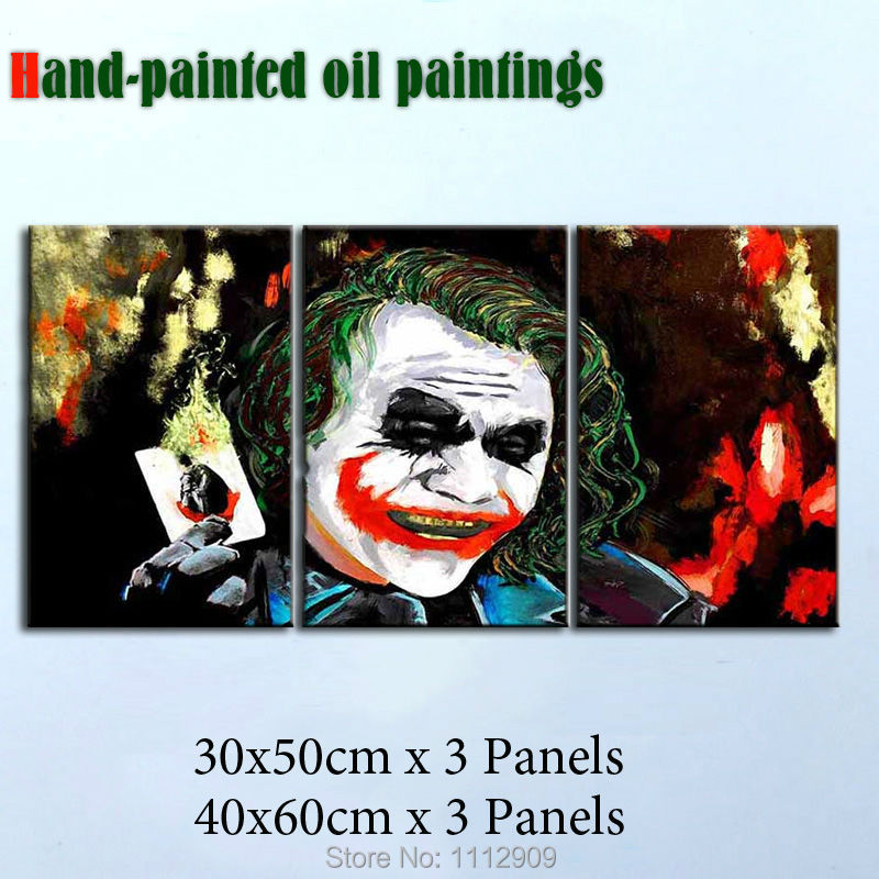 Hand Painted Canvas Oil Paintings Joker Pop Art 3 piece Wall Pictures for living room cuadros decoracion(China (Mainland))