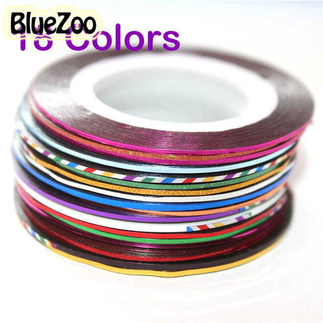 BlueZoo New 18 Color Rolls Striping Tape Metallic yarn Line Nail Art Decoration Sticker Free Shipping