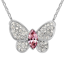 New Crystal Small Butterfly Pendant Necklace Made With Swarovski Elements Animal Design Jewelry Gifts For Girl Jewellery Sautoir(China (Mainland))