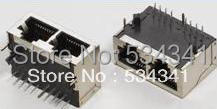 Free shipping pcb use 90 degree RJ45 connector 1X2 no led sheilded network socket(China (Mainland))