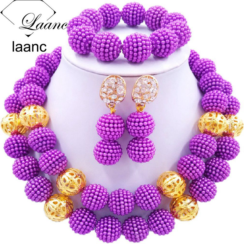 01-African Simulated Pearl Beads Jewelry Set Singe Color (13)