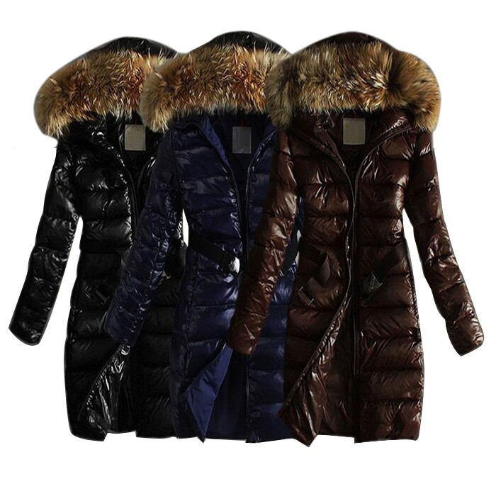 Winter Down Jackets 2015 High Quality Brand Women Warm Slim Large Fur Collar Goose Down Parkas Black Lady Long Down Coats LS610(China (Mainland))