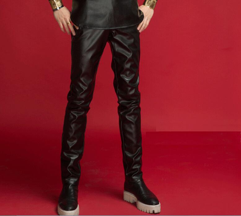 2015 male stage wear nightclub slim black motorcycle PU leather pants men Korean skinny gentleman trousers jazz hip-hop costumes - Chen Han Garments Co., Ltd. store