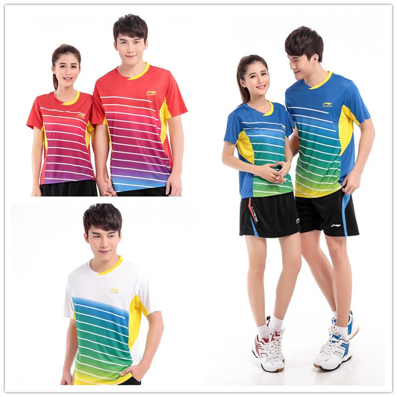 2015 li-нин бадминтон комплект ( футболка + шорты ) мужчины и женщины быстро сухой настольный теннис подкладка askk038