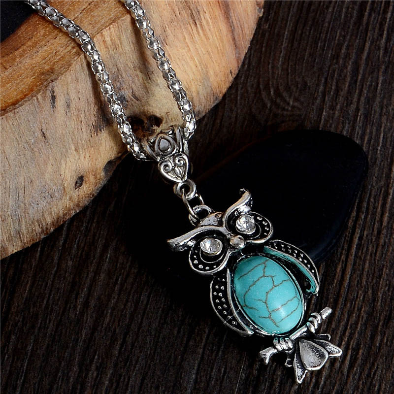 Wholesale Lady's Vintage Necklace Trendy Cute Owl Necklace Turquoise Jewelry For Gifts Long Pendant(China (Mainland))