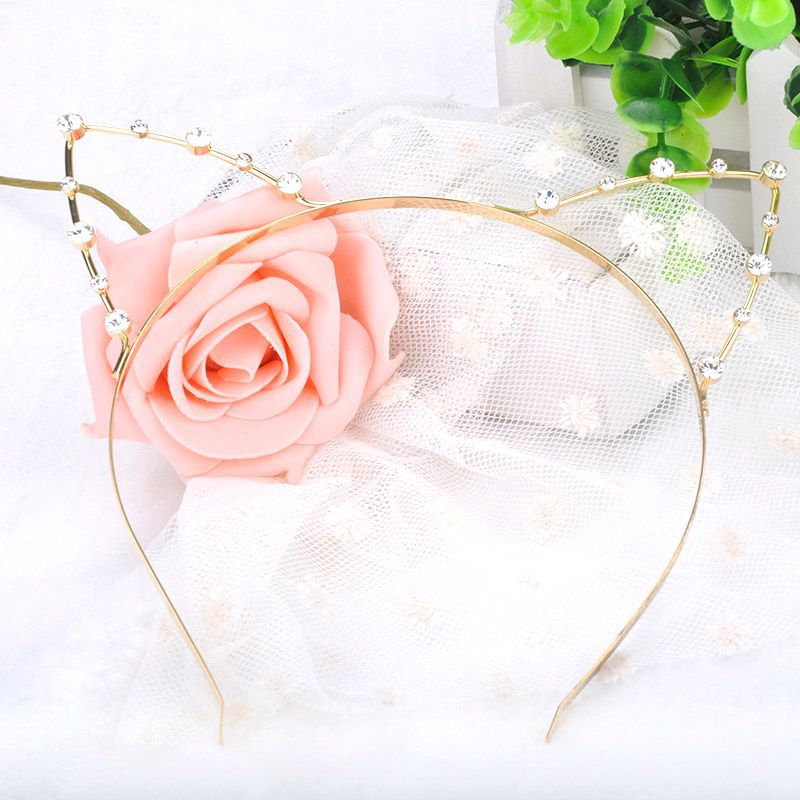 Fashion Sweet Cat Ear Hairbands Women Ladies Girls Pearl Crystal Hair Band Headwear Headband Hair Accessories #5(China (Mainland))
