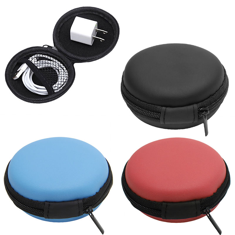 1Pc Headphones Earphone Cable Earbuds Storage Hard Case Carrying Pouch bag SD Card Hold box Random color(China (Mainland))