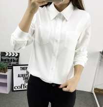 spring new women's long-sleeve lapel shirt Slim white blue solid color pockets blouse ladies office wear single breasted top
