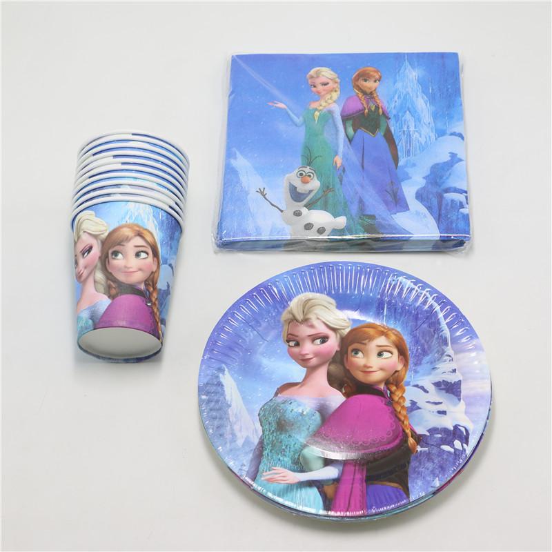 40pcs elsa anna princess cartoon theme birthday decorations sacers cups party favors disposable paper glass plates supplies(China (Mainland))