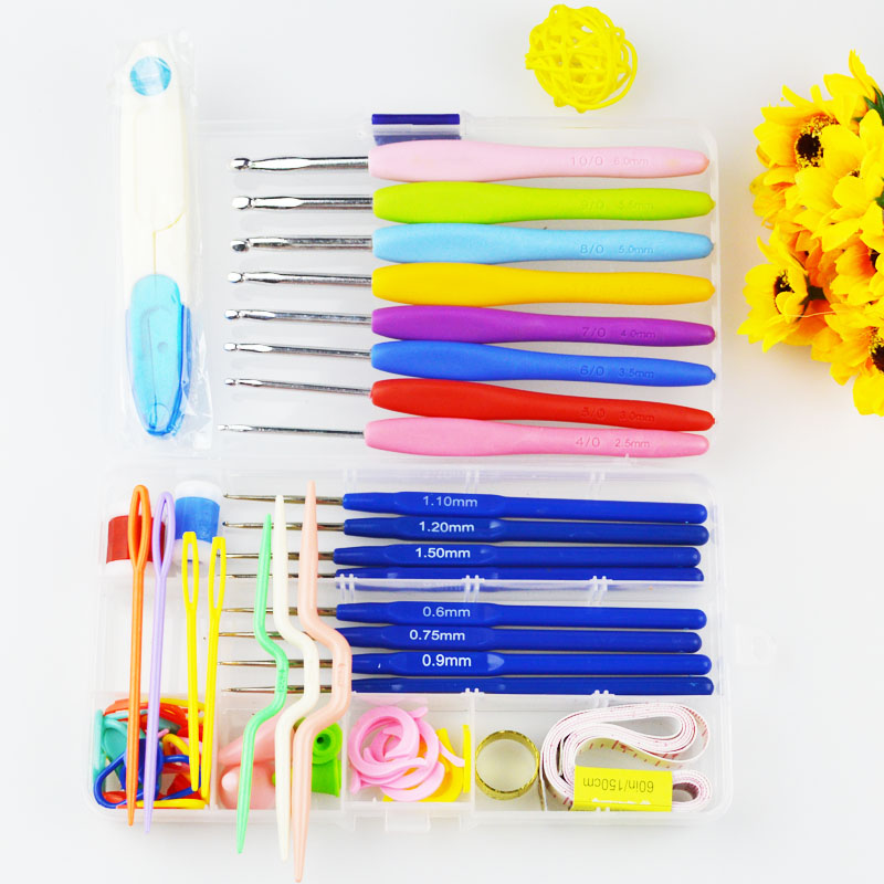 TS New Durable 16 size Crochet hooks Needles Stitches knitting Craft Case crochet set in Case Yarn Hook Stitch Weave Accessories(China (Mainland))