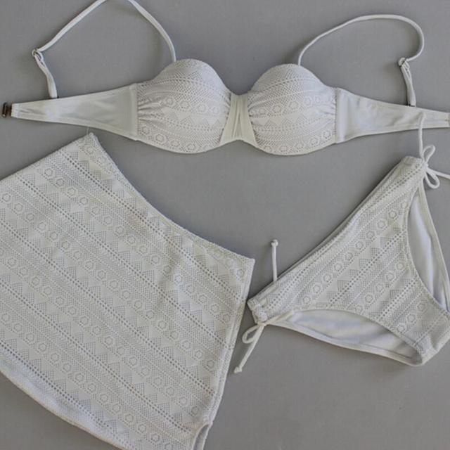 Сетка верх низ для женщин горячая распродажа тонкий ремень сетка комплект бикини сексуальные женщины-бич 3 шт. девушки элегантный само Biquini