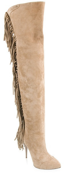 Women good-looking fashion fringed suede thigh boots in beige sexy long over the knee boots gladiator thigh high tassel boots(China (Mainland))