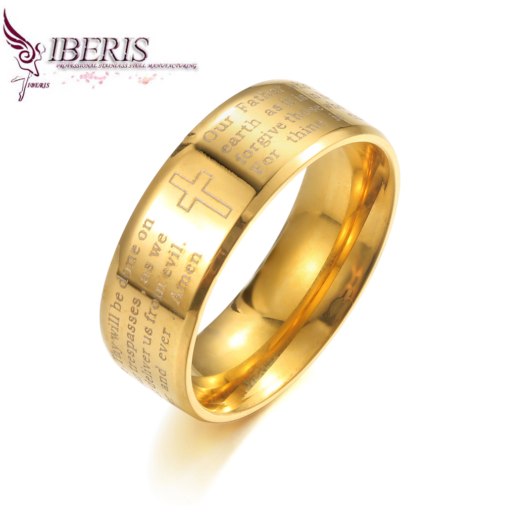 18K Gold plated Bible Stainless steel Ring for women men Christian Anniversary Gift jewelry(China (Mainland))