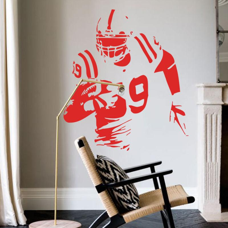 Art fashion design name quote vinyl Rugby player cheap wall sticker removable fashion USA football athlete decals for shop club(China (Mainland))