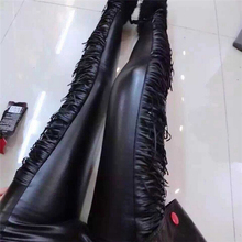 New Fashion Sexy Women Ladies Faux PU Leather Thickness Warm Tassel Leggings Hot Pants Trousers One Size