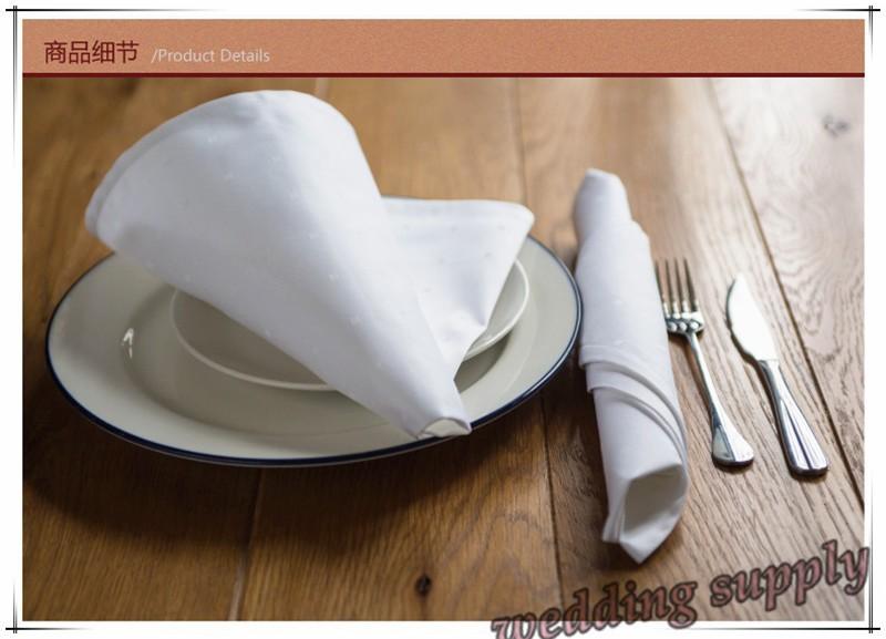 100pcs Cloth Table White Polyester Napkins free shipping(China (Mainland))