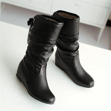 Nuevo Estilo Cintas Se Deslizan Sobre Las Mujeres Botas de Nieve de La Manera Del Cordón Sólido Cuero suave de La Pu Botas Aumento de la Altura Zapatos de Invierno Caliente de la Felpa(China (Mainland))