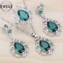 ירוק CZ ריינסטון חתונה כסף 925 תכשיטי סטי תליוני ושרשרות עגילי טבעת עבור נשים דובאי להגדיר משלוח אריזת מתנה(China)