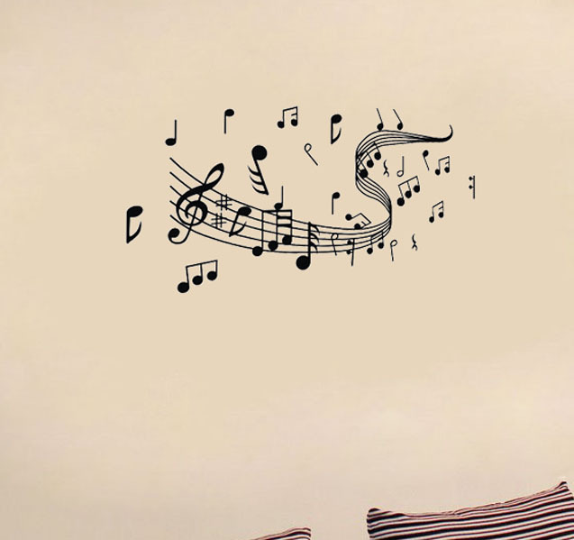 Note music piano musical instrument child real wall stickers-Say Quote Word Lettering Art Vinyl Sticker Decal Home Decor Words(China (Mainland))