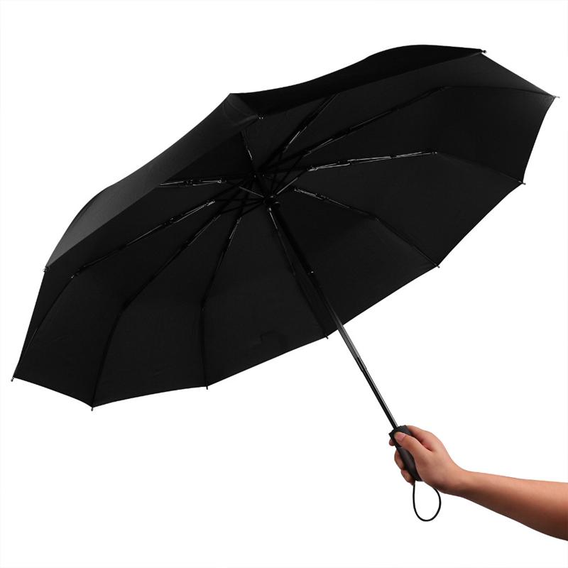 Men business automatic umbrella solid color three sun Umbrella 10 bone wind pressure Pongee Three-folding Umbrella(China (Mainland))