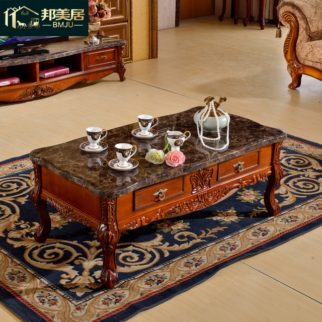 American Country Wood Carved Marble Coffee Table Tea