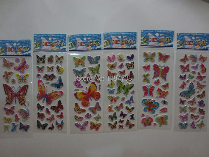 60 sheets/lot Butterfly 3D Cartoon Puffy Stickers Kids Self-adhesive Handmade DIY Bubble Stickers on Scrapbooking & Paper Crafts(China (Mainland))