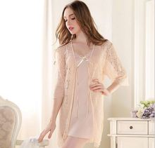 2015 summer style Sexy sleepwear female robe summer temptation lace nightgown twinset fashion lounge(China (Mainland))