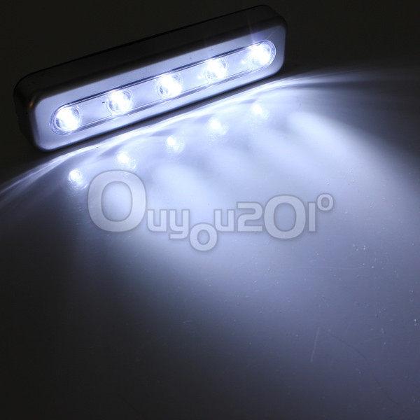 Tap Light 5 LED Battery Powered High Quality Self Stick Under Cabinet Push Touch Night Lamp Kitchen Closet Desk Bulb Ship Free(China (Mainland))