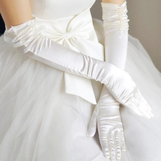 The bride wedding gloves long design double beads pearl for Wedding dress with long gloves