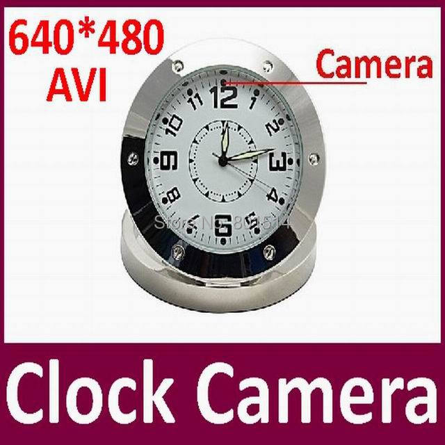 100pcs/lot Metal Table Clock Camera Video Recorder Camcorder Motion Home security Mini CCTV camera(China (Mainland))