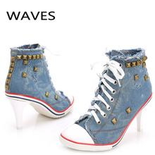 New Vintage Rivet Pumps Women Ladies Lace-Up Canvas High Heels Girl Casual Denim Pumps Rivets Sexy Cool Punk Party Shoes